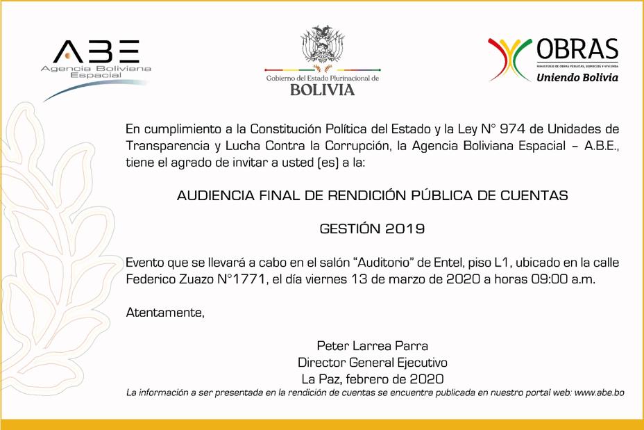 Audiencia Final de Rendición Publica de Cuentas Gestión 2019